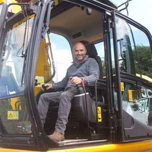 Shaun Price in his 13 ton JCB JS130 Excavator