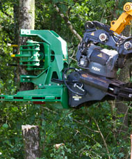 JCB JS130 digger with tree shears